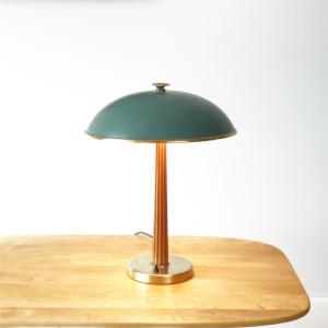 Brass and wood desk lamp